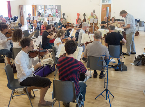 DSCN4619c Players from Ealing Symphony Orchestra rehearsing for an informal concert as part of the Brill Festival. 24th August 2019.