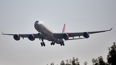 Airbus A340 (Bernie Condon) Tags: virgin virginatlantic airliner passenger transport airbus a340 airbusa340 airline pax aircraft plane flying heathrow londonairport london uk england aviation vs