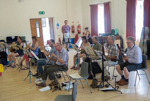 DSCN4611c Players from Ealing Symphony Orchestra rehearsing for an informal concert as part of the Brill Festival. 24th August 2019.