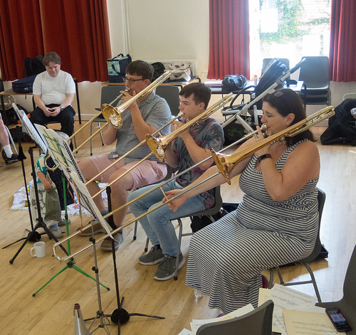 DSCN4610c Players from Ealing Symphony Orchestra rehearsing for an informal concert as part of the Brill Festival. 24th August 2019.
