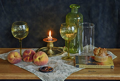 Glass, Peaches and Candle Light (mevans4272) Tags: glass peaches light candle book life still