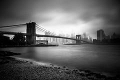 Gloomy NYC (Piotr_PopUp) Tags: manhattan brooklynbridge nyc ny newyorkcity newyork eastriver longexposure greyfilter water river bridge blackandwhite blackwhite bw bnw monochrome mono us usa unitedstates