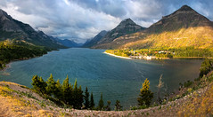 Waterton Lake (valentina425) Tags: canada lake mountains summer august sunrice sky clouds waterton