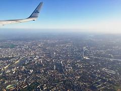 Aerial City of London from  a KLM flight. (elsa11) Tags: london londoncity thethames riverthames theshard londoneye aerial klm england windowseat uk unitedkingdom housesofparliament bigben