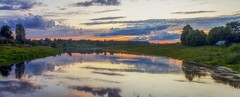 Два берега, на закате (Alexx053) Tags: summilux25mmf14 olympus em10mk3 sunset grass river cloud nopeople reflection landscape outdoor russia panorama