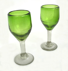 A pair of medieval green glass goblets (parkgateparker) Tags: greenglass goblet medieval glass