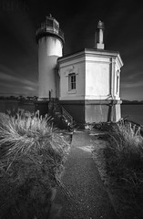 Coquille River Lighthouse in Bandon, Oregon (Russell Eck) Tags: coquille river lighthouse bandon oregon black white monochrome russell eck long exposure longexposure sunset nature travel landscape architecture history