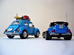 Volkswagen Beetle & 5541 Blue Fury - rear (Fabio Molinaro) Tags: lego model team 10252 volkswagen beetle 5541 blue fury