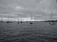 Approaching (ancientlives) Tags: chicago illinois il usa lake lakemichigan lakeshore harbour yachts sailing adlerplanetarium horizon storm weather clouds walking lakefronttrail blackandwhite bw mono monochrome monday august 2019 summer