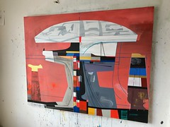 Jim Harris: Science Facility at Weilheim in Oberbayern. (Jim Harris: Artist.) Tags: art arte painting cosmos kunstzeitgenössische künstler kunst kunstler futurism future futuretech futuristic maalaus malerei málverk geometric architecture technology technik saatchi collector red gold