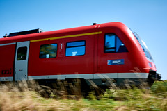 Passing By (bhanakam) Tags: train pass panning fast moving grass sky green blue red light bright summer warm outdoors hike hiking germany bavaria franconia
