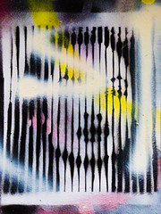 Our Lips are Sealed (Steve Taylor (Photography)) Tags: mylipsaresealed graffiti stencil streetart black blue contrast pink white yellow spooky frightening scary eerie lady woman uk gb england greatbritain unitedkingdom london lines