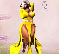 #504 (Zarhyya Trill) Tags: queenz dress secondlife avatar mesh split yellow hud caramel chocolate thick sexy business iconic hair uber ebody maitreya belleza slink hourglass freya curvy heels
