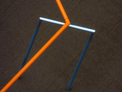 Pipes (Steve Taylor (Photography)) Tags: minimalist minimalism brown blue silver orange metal pipe uk gb england greatbritain unitedkingdom london bend shiny