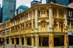 Old type commercial building (Thanathip Moolvong) Tags: nikon fe 50mm f14 ais kodak plus 200 negative film old style shophouse building singapore