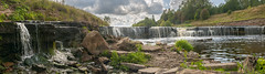 Panorama of waterfall on mountain river on clear summer day (a_d_andreev) Tags: landscape panorama wild river nature green park waterfall stream fall creek rock forest water tree natural travel background environment outdoor stone rivers view mountain scene fresh foliage leaf motion rossia europe