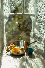 August Rain (kinmegami) Tags: miniature 16 polymerclay roombox rose dollhouseminiature handmade honey coffee peach doll diorama