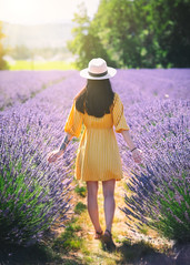 Lavender Valley (Mike Ver Sprill - Milky Way Mike) Tags: lavender valley landscape nature oregon hood river mountain woman beautiful girl travel explore yellow dress purple violet flowers farm