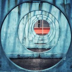 Circles of Shadows (Wilson Au | 一期一会) Tags: hongkong kwuntong geometry circle shadow depthoffield color blue perspective iphone kowloon aspectratiosquare11 香港