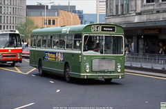Bristol Omnibus RELL MH1157,  WAE 790H, St James Barton Roundabout, Bristol, May 19th 1984 (Bristol RE) Tags: 1157 c1157 mh1157 wae790h bristolomnibus countrybus bristolre rell rell6l ecw stjamesbartonroundabout bristol westyorkshire roadcar 2582 kub666v leyland leopard plaxton supremeivexpress