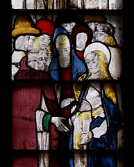 Fairford, Gloucestershire, St. Mary's church, stained-glass window # 2:  Mary, detail (groenling) Tags: fairford gloucestershire glos england britain greatbritain gb uk stmaryschurch stainedglasswindow stainedglass glass flower barley betrothal engagement saint mary joseph