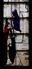 Fairford, Gloucestershire, St. Mary's church, stained-glass window # 2:  Mary, detail (groenling) Tags: fairford gloucestershire glos england britain greatbritain gb uk stmaryschurch stainedglasswindow stainedglass glass flower barley presentation temple saint mary