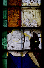 Fairford, Gloucestershire, St. Mary's church, stained-glass window # 2:  Mary, detail (groenling) Tags: fairford gloucestershire glos england britain greatbritain gb uk stmaryschurch stainedglasswindow stainedglass glass flower barley birth saint mary anne emerantia