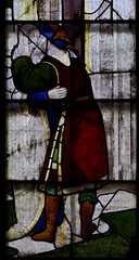 Fairford, Gloucestershire, St. Mary's church, stained-glass window # 2:  Mary, detail (groenling) Tags: fairford gloucestershire glos england britain greatbritain gb uk stmaryschurch stainedglasswindow stainedglass glass flower barley saint anne joachim gate