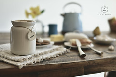 Breakfast at home (Zara Calista) Tags: still life breakfast jar plates food sugar kettle nikon 50mm home