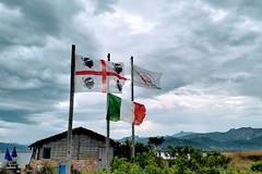 Three Flags (Kulawy Strzelec) Tags: 2018 europa europe october październik autumn fall jesień nokia michalkawecki sardinia sardynia sardegna santeodoro olbia italia italy włochy flag cloudy