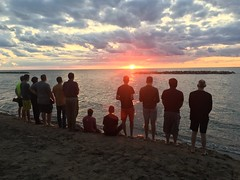 After an evening of recreation at Presque Isle State Park, the seminarians prayed Vespers as the sun set over Lake Erie – August 23, 2019.