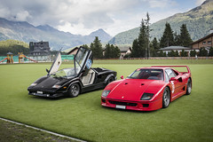 Bull or Stallion? (Ste Bozzy) Tags: lamborghini countach lamborghinicountach lamborghinicountach25° lamborghinicountach25thanniversary countach25th countach25thanniversary ferrarif40 ferrari f40 supercars cars automotive exotic duo historic icons legends v12 v8 turbo passioneengadina passioneengadina2019 stmoritz switzerland 19bozzy92