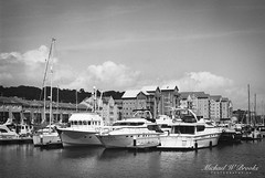 Portishead Quays Marina 3 (mwbrooks199) Tags: fujicast801 fujinon55mmf18 kodaktrix400 portisheadquaysmarina blackwhite