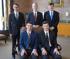 New seminarians – Fall 2019.  Standing in back, left to right: Aidan Kerlin, Jared Lichtinger, Jeremy Zawelensky.  Seated: Domenic Ellis, Michael Scanga