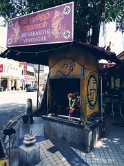 Sri Varasithi Vinayagar (peterphotographic) Tags: p7240514cb2filmnc1aedwm srivarasithivinayagar olympus em5mk2 microfourthirds mft ©peterhall penang malaysia seasia asia street shrine temple swastika pavement city cityscape urban streetphotography hindu camerabag2 georgetown