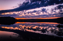 Sunset clouds (mabuli90) Tags: finland lake sunset night forest tree reflection water rock clouds dusk nature landscape