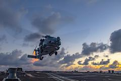 "An MH-60R Sea hawk helicopter prepares to land aboard the USS Wayne E. Meyer (#PACOM) Tags: sailors fast flexible worldwide ddg108 wayneemeyer ctf70 npasewest npase navypublicaffairssupportelement 7thfleet preservepeace deteraggression defendfreedom heritage operateforward beready tradition freedom protect liberty navy usnavy america unitedstates military mh60r hsm37 seahawk atsea usindopacificcommand ""usindopacom"