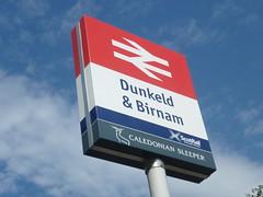 Dunkeld & Birnam, Perthshire (calderwoodroy) Tags: station scotland perthshire railwaystation dunkeld birnam perthkinross dunkeldbirnam sign stationsign formerbrlogo nationalraillogo scotrail caledoniansleeper