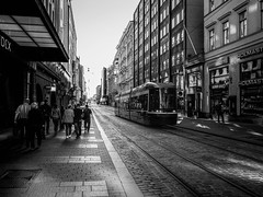 Helsinki (rsvatox) Tags: glass monochrome finland people reflections buildings nocolor trolleycar blackandwhite architecture city