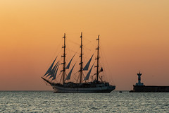 Khersones tall ship. Sevastopol, Russia. (Roman Dergunov) Tags: 2019 blacksea canon canoneos70d crimea crimea2019 sevastopol boat evening flag outdoor sail sea ship summer sunset water