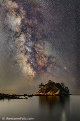 Milky Way with islet (james c. (vancouver bc)) Tags: islet westvancouver bc canada shine tree adventure calm atmosphere star night scenery astronomy autumn starlight dark galaxy vast beach science blue mountain outdoors infinite sky cluster sea background water space silhouette nature twinkle starry constellation landscape stellar universe outerspace milkyway astro starfield rock rocky driftwood