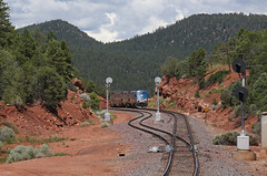 West Glorieta (GLC 392) Tags: amtrak passenger train amtk ge p42dc new mexico railroad railway nm 41 31 signal signals southwest chief search light west glorieta rock cut mountain mountains hill hills 3