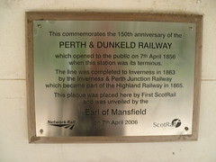 Commemorative plaque at Dunkeld & Birnam station, Perthshire (calderwoodroy) Tags: scotland perthshire dunkeld tayside birnam perthkinross dunkeldbirnamstation scotrail highlandrailway highlandmainline plaque perthdunkeldrailway 1856 sesquicentenary transport transporthistory