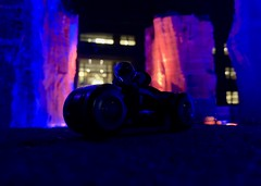 Lightcycle (socalbricks) Tags: tron lightcycle grid 2010 lego minifigure race fountain sam flynn tronlegacy legacy 2018 2019 ideas bike neon lights red pink orange blue thegrid video games videogames 1980s
