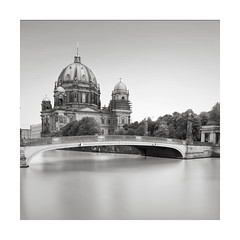 Berliner Dom (GlennDriver) Tags: black white long no people church berlin europe city water river bnw exposure bw cathedral square nd canon fineart tranquil
