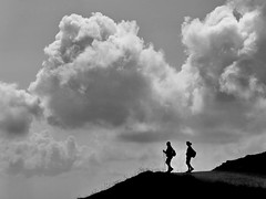 hiker in the clouds (heinzkren) Tags: schwarzweis blackandwhite bw sw biancoetnero noiretblanc monochrome panasonic lumix austria schneeberg clouds hiking wanderer silhouette woman nature natur sport loweraustria outdoor summer sky landscape mountains berge people weather candid wolken innamoramento