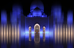 Blue Hour (HWHawerkamp) Tags: outdoors illuminated city architecture street night people travel destinations sheikzayedmosque blue graphics abstract abu dhabi uae vae