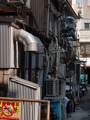 pipes and cables (kasa51) Tags: alley exhaustpipe cable wire outdoorunit yokohama japan duct