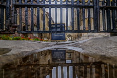 let's go under (Paul wrights reserved) Tags: reflection reflections reflectionphotography puddle puddlephotography cambridge cambridgeshire university closed gate gated building buildings hdr low lowangle
