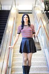 En Femme - Teddie and Skirt (Hannah McKnight) Tags: model tgirl transgirl boots skirt bodysuit stockings